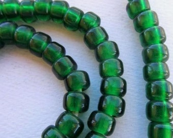 African Trade Beads - Green Transparent Padre Beads (9x6mm) [61343]