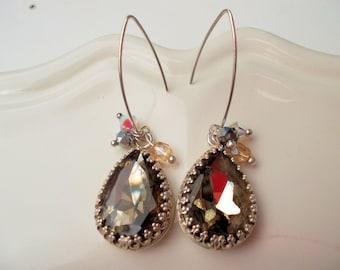 Hanging earrings sterling silver swarovski crystal pendant earrings dangle earrings elegant earrings