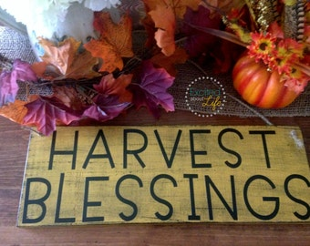 Wall Decor - Harvest Blessings - Distressed Wooden Sign