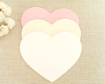 100pc Heart advice cards(3in)Pick Colors,Wedding hearts,Large White heart tags,Bride groom advice,Heart favor tags,White heart die cuts