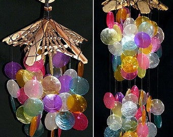 "Capiz/Bamboo Rainbow Seashell Wind Chimes ~ Available in two sizes. 8"" X 14"" or 8"" X 18"" ~  FREE SHIPPING~"