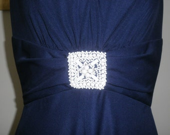 Vintage 1970s Maxi Dress in Navy Blue with Beaded Detail by Carnegie of London Size 16