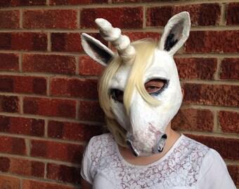 Unicorn Mask/ Paper Mache Animal Mask