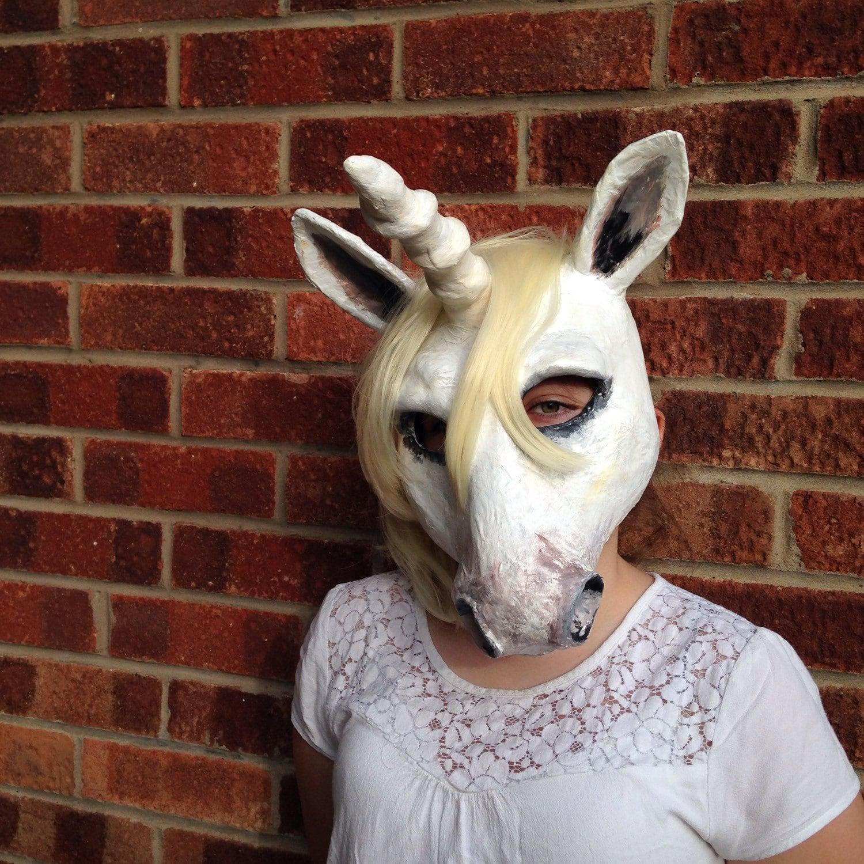 Unicorn mask paper mache animal mask for Paper mache mash
