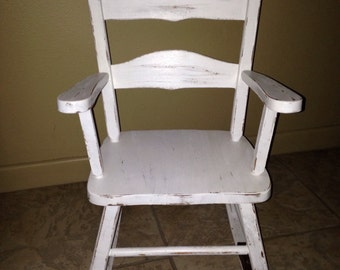 antique; white; rocking chair; musical; child; toddler; shabby chic; furniture; ask for shipping quote