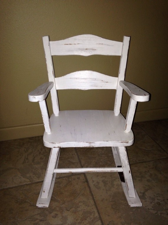 antique; white; rocking chair; musical; child; toddler; shabby chic ...