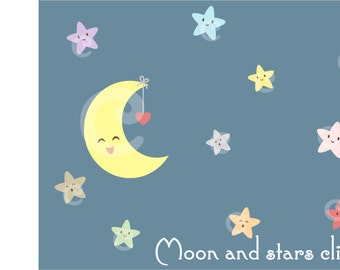 Digital Kawaii Night sky Moon Star Clipart Printable Instant Download PNG Scrapbooking Sticker Invitation Cards Commercial use