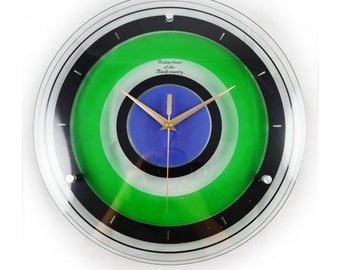 Adris Lime Green and Blue Bathroom wall clock
