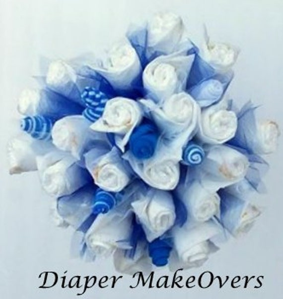 Diaper Bouquet - Unique Diaper Cake - Unique Baby Shower Gift or Decoration - Hospital Gift - Baby Boy, Baby Girl, Neutral Gift