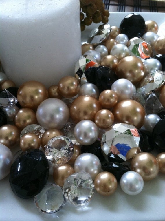 Diamonds And Pearls Holiday BowlVase Fillers Black Gold