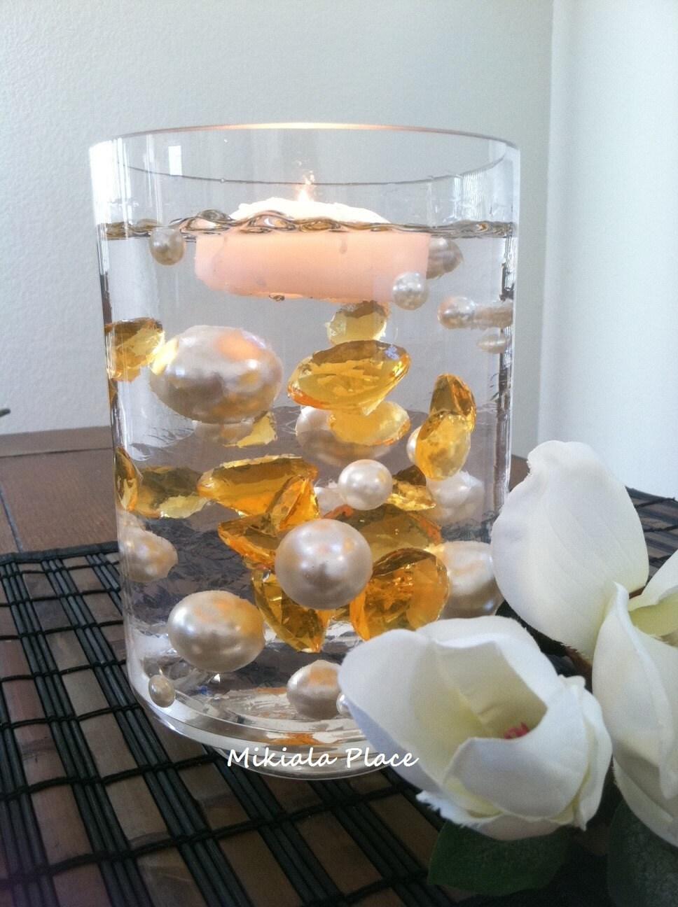Diy 50pc Floating Jumbo Diamond Amp Jumbo Pearl Vase Fillers