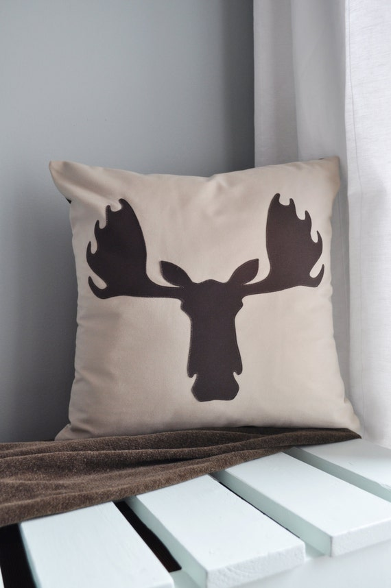 Decorative Moose Pillows : Moose Head Twill Decorative Pillow Cover