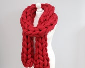 Chunky knitted Scarf, 70+ colours Giant Extreme Infinity chain scarf, Super chunky bulky scarf, knitting Merino, chunky yarn,