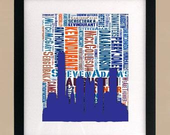 Oklahoma City Thunder CityScape Wordcloud 2 Print
