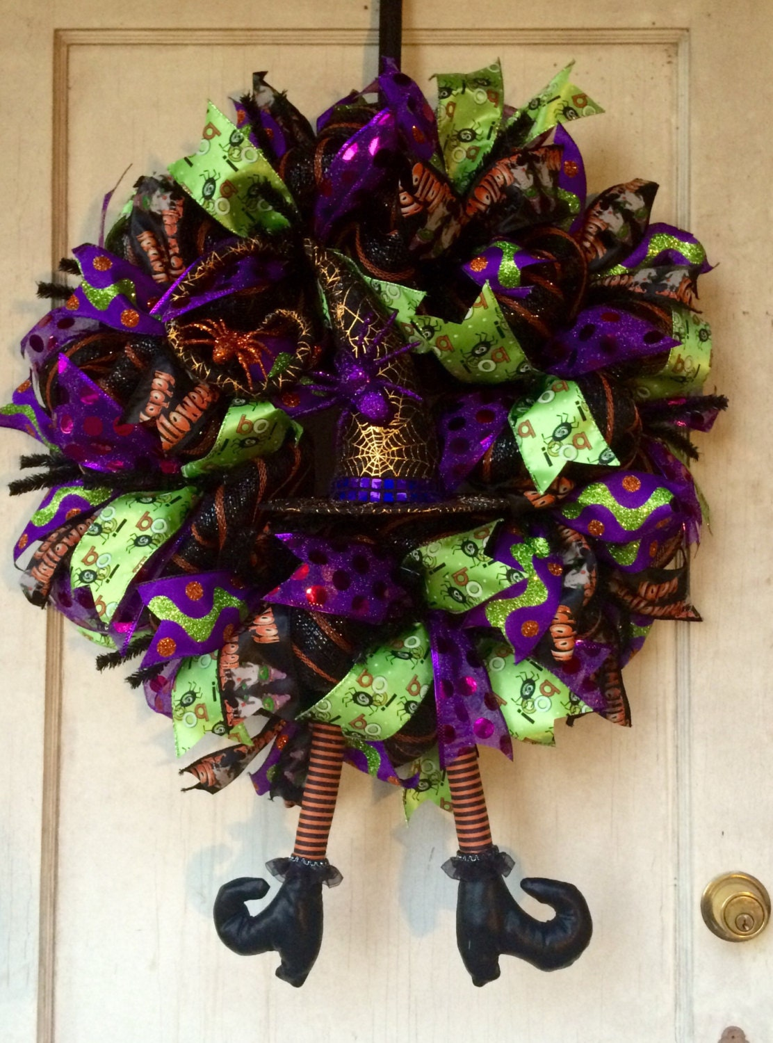 Deco Mesh Wreath Halloween Wreath Witch Wreath With Hat And