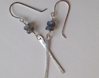 Labradorite earrings, silver stick earrings, blue, drop, dangle, sterling silver, minimalist, silver bar, hammered, handmade