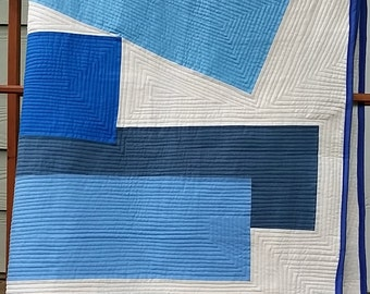 """Bluest Blue Modern Quilt, Inspired by Josef Albers' Interaction of Color, 52"""" x 60"""", for lap, sofa, day or twin bed, wheelchair"""