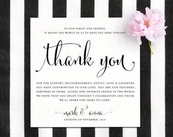 Printable Wedding Reception Thank You Card - Thank You Card - DIY Thankyou Reception Card - Digital Calligraphy - Digital Wedding Thank You