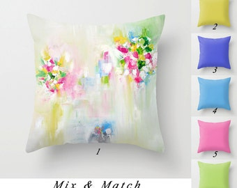 Mint Green and White Throw Pillows, Art Pillows, Pink Pillow, Blue Pillow, Green Pillow Covers, Solid Color Cushions, Decorative Pillows