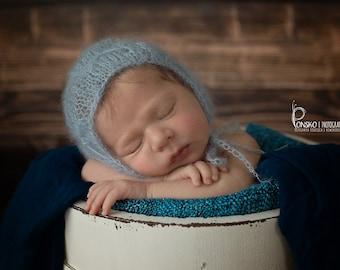 Newborn photo prop. Mohair bonnet for baby boy or girl. Newborn Mohair Lace Bonnet. Knit Bonnet. 21 colors
