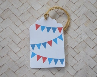 Red and Blue Bunting Gift Tag