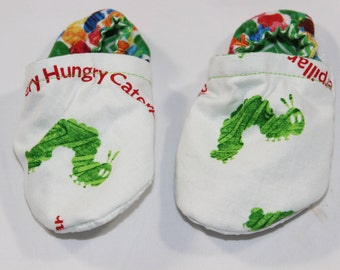 The hungry caterpillar Booties, cloth booties, baby booties, soft soled shoes, baby footwear, cloth moccasins, child shoes