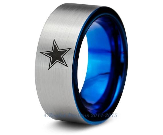dallas cowboys blue tungsten wedding band ring mens womens With dallas cowboys wedding ring