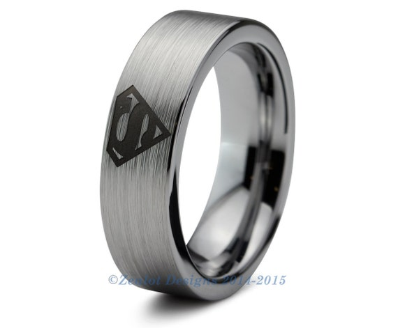 superman tungsten wedding band ring mens womens by
