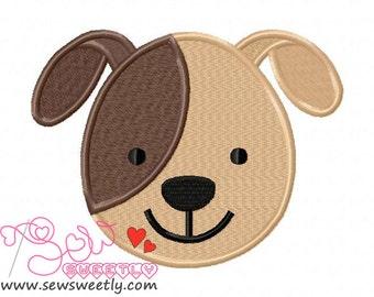 Cute Dog Face Embroidery Design.