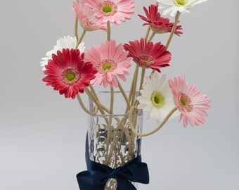 Natrual Real Touch Gerbera Daisy Wedding Bridal Bouquets, Centerpieces, Boutonniere, Home Decoration, Red, Pink, White