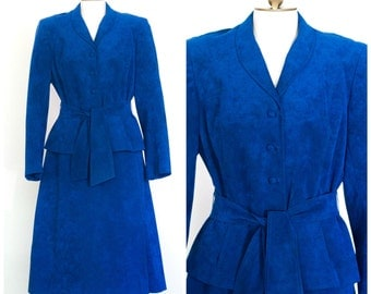 1970s royal blue ultrasuede skirt suit with belted blazer