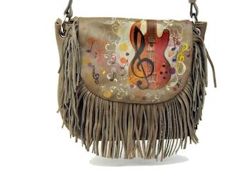 Hand Painted Fine Grain Leather Purse - Ivette Sound Beige Fringes Messenger Bag by Lyria.ro