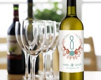 Personnalisé d'étiquettes de vin - Table numéros étiquettes de vin dans un Style dessinés à la main - personnalisés de mariage fleurs vin étiquette