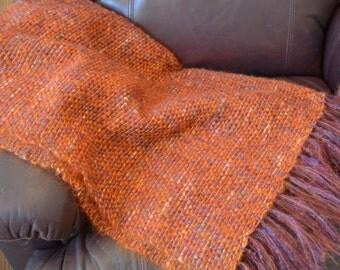 Handwoven Mohair Throw - Blanket - Orange Throw Blanket