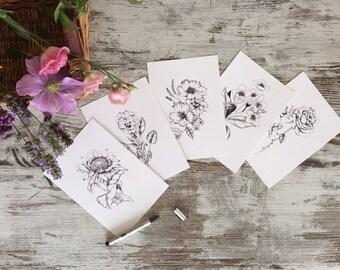 Botanical illustration A5 prints - pack of 2