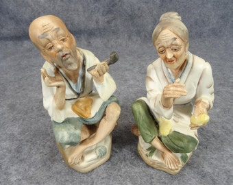 Pair of 2 Homco Style Senior Age Asian Man and Woman