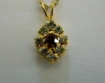 Simulated Ruby Diamond Gold Chain Necklace