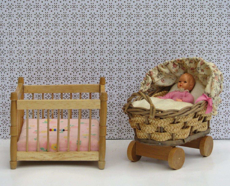 doll house vintage nursery 1960s 1970s furniture baby carriage. Black Bedroom Furniture Sets. Home Design Ideas