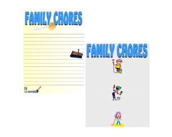 Printable Chore Charts Family Chores 4 Variations Printable PDF Instant Download