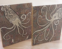Nautical Octopus and Squid art block print .Whimsical sea inspired home decor wall art.Great in living space or kids room. No frame needed