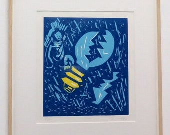 "Signed Jorge Immendorf Lino- cut ""Babel Series II"" 1987"
