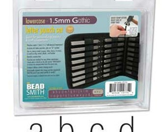Beadsmith 1.5mm Gothic Letter Set Uppercase Punch 27 Pc W/case