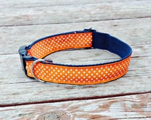 "Polka Dot Dog Collar Create Your Own Adjustable Pet Accessory Durable - Choose Your Color and Webbing Combo Collar 1"" Wide Custom"
