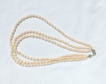 Three Strand Cultured Pearl Necklace
