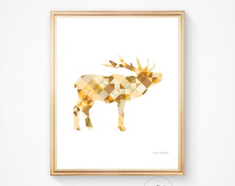 Moose print, Moose art, Moose wall art, Instant download, printable art, Moose, Wall decor, Moose printable, Wall art, Animal printable