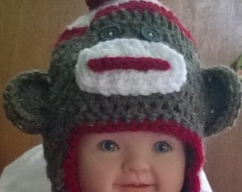 Sock Monkey hat and booties newborn to 5yrs old