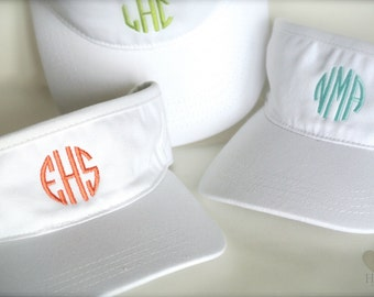 White Monogrammed Visor - Personalized Visor- Monogramed Tennis Hat- Golf Visor