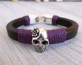Women bracelet, Bracelet for women, Girl leather bracelet, Licorice  bracelet, Brown leather bracelet, Girl bracelet, Skull bracelet