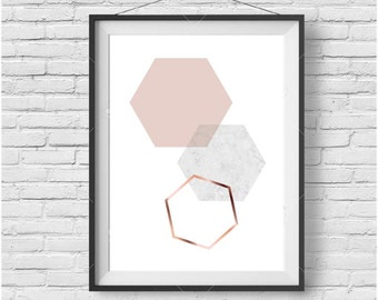 Blush Print, Blush Wall Art, Blush Poster, Copper Print, Copper Wall Art, Scandinavian Print, Blush Home Decor, Honeycomb Print, Hexagon Art