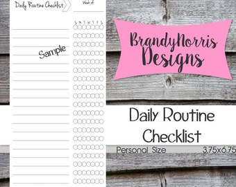 Filofax Daily Weekly Routine Checklist_Personal Size_undated_PRINTABLE PDF